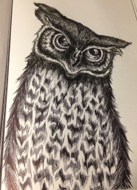 This is an ink sketch I finished on a flight to Florida last December. I love texture and animals and find the ink helps add drama and intensity to my work.