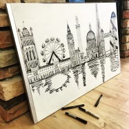 This ink sketch was done on a wooden desk board I purchased at a thrift store. I painted it white and used a variety of pens to finish this London inspired piece from my trip there in the summer of 2014.