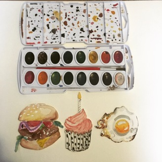 I started experimenting with watercolor food art.