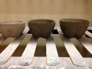 Ceramics allows me to relax and unwind. These are salsa pig bowls I made in a set.