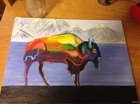 This buffalo acrylic painting I finished for a friends new apartment.