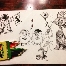 An ink drawing later filled with a little colored pencil.