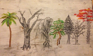 Ink and acrylic painting on a wood board for my brother's living room. I much prefer using wood over canvas.
